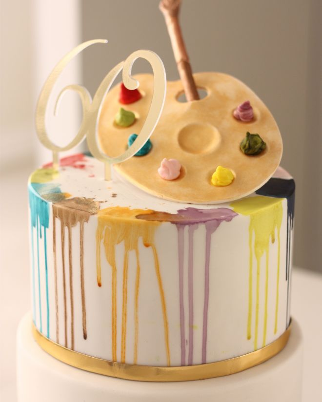 Цветна Торта за рожден ден годишнина за художник С палитра