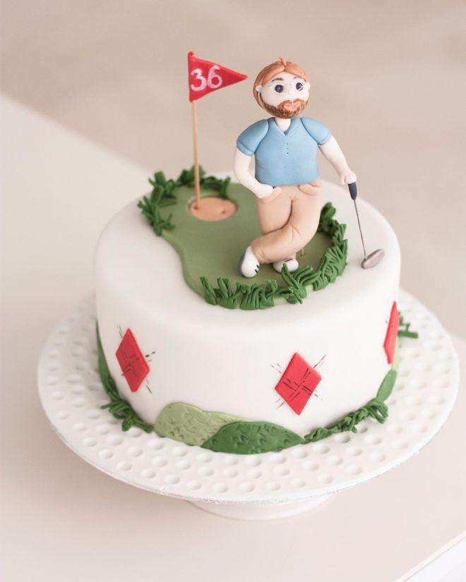 Торта а рожден ден с фондан за голф играч