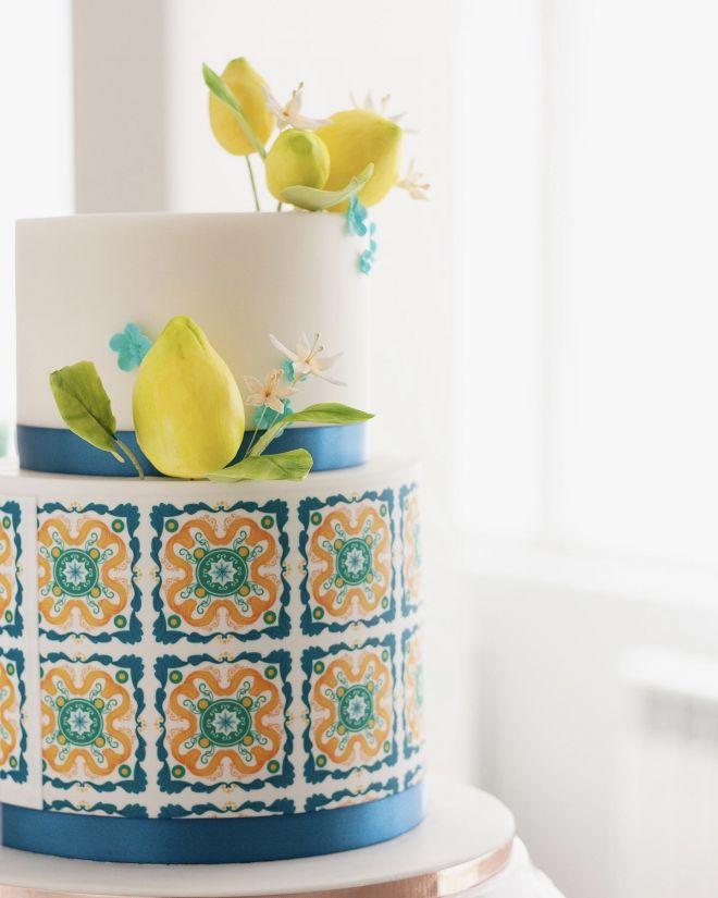 Сватбена Торта в тоскански стил с лимони